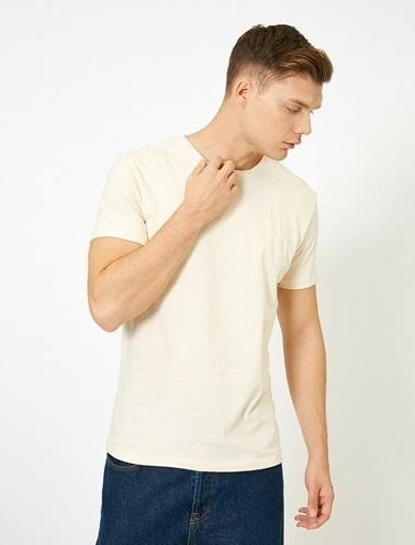 Koton Bisiklet Yaka %100 Pamuk Slim Fit Basic T-Shirt Ekru